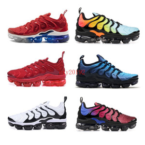 Wholesale 2019 Sunset Fades Work Blue TN Plus Men women Running Shoes Bright Crimson Hyper Rainbow Mens Volt Wolf Grey sports sneakers 36-45