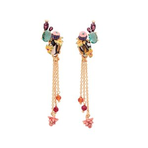 Wholesale Juicy Grape Cactus Teal Crystal Tassel Long Stud Earrings Fashion Jewelry Women Charm Jewellery Boucle D Oreille Earrings T7190617