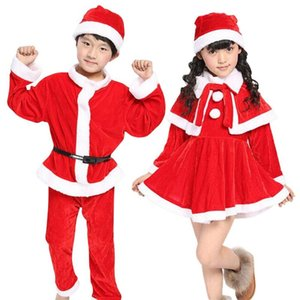 Wholesale Boy Girl Children Christmas Clothes Long Sleeve Santa Claus Coat Tops Long Red Pants Sets Toddler Cosplay Performance Costume