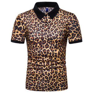 Wholesale Summer 2019 Men's Fashion 3Color Cheetah Printed T-shirt with Short Sleeve Flip Collar Casual Lapel T Shirts Polo Man Shirts
