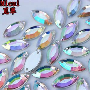 Micui 300PCS 6*12 7*15mm AB Crystal Sew On Acrylic Rhinestones Flatback Horse Eye Strass Stones For Clothes Dress Crafts ZZ226CD