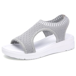 Wholesale Summer Women Sandals Plus size Wedge Breathable Mesh Shoes Female Peep Toe Ladies Solid Slip on Comfortable Shoes Ladies