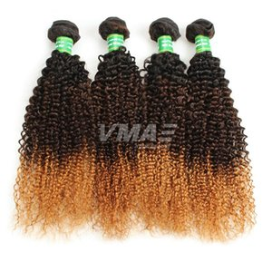 Wholesale Top Selling b Good Hair Brazilian Ombre Curly Hair Extensions Three Tones Ombre Weave Brazilian Wet and Wavy Cheap Hair