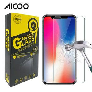 Wholesale AICOO H Transparent Tempered Film Glass Screen Protector for Samsung A20 G7 Power iPhone XS Max J7 Star in Retail Package