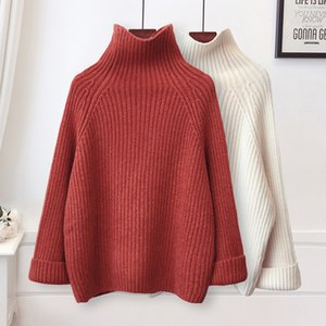 Wholesale 2019 Winter Sweater Women Turtleneck Jumper Black Pink Purple White Warm Knitted Pullover and Sweater Female Pull Femme