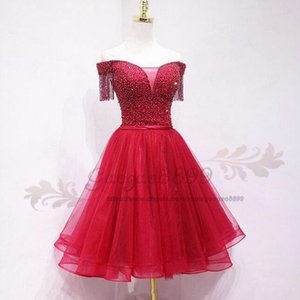 Wholesale 2019 red short prom dress with beaded crystal Formal party Dresses Wear off the shoulder custom made cehap cocktail party dresses