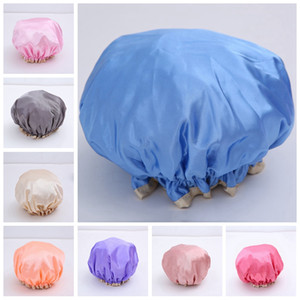 Double Layer Shower Cap Waterproof Resuable Solid Elastic Band Bath Cap Thicken Hair Caps Anti-fume Hat Adult Makeup Hair Cover DBC VT1676