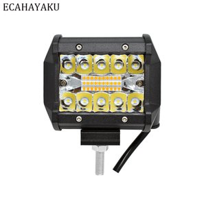 Wholesale 20Pcs ECAHAYAKU Tri Row inch LED Light Bar White Yellow Strobe Flashing modes for Off road SUV Boat Jeep Hummer Fog Lights V