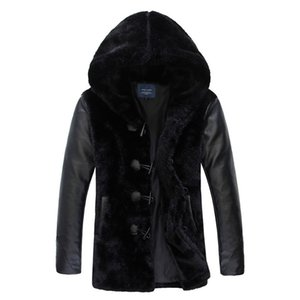 Wholesale Winter man High Quality Fur Coat Leather Jackets Fur Faux Coats hooded Collar Warm Fur Coat Clothing Plus Size