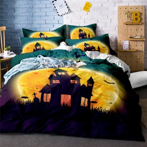 Wholesale Classical Halloween party in Castle and bat print HD digital Print halloween bedding sets pillow case Cushion cover sheet