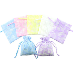Wholesale 8x10cm Fabric Jewelry Pouches Thin Fabric Dry Flower Packaging Gifts Bags Wedding Christmas Party Favor Candy Bag Pouch