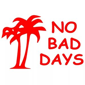 Wholesale black tree decals for sale - Group buy 12 CM No Bad Days Humor Beach Holiday Leisure Ocean Coconut Tree Sticker for Door Laptop Vinyl Decal Car Sticker Black Silver CA