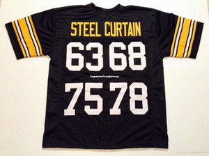Wholesale curtains s for sale - Group buy Cheap Retro custom Sewn Stitched Steel Curtain Black MITCHELL NESS Jersey Top S XL XL Men s Football Jerseys Running