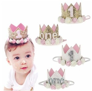 Wholesale Baby Girl Boy Birthday Party Hats I Am One Caps First Birthday Princess Queen Crown Party Decorations Headband Kids Favors COlors