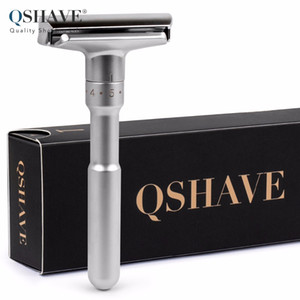 Adjustable Safety Razor Double Edge Classic Mens Shaving Mild to Aggressive 1-6 Files Shaver Hair Removal with 5 Blades