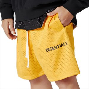 FEAR OF GOD FOG Essentials Graphic Mesh Drawstring Shorts Men Women Summer Mesh Shorts Gym Basketball Shorts Hip Hop Skateboard Streetwear