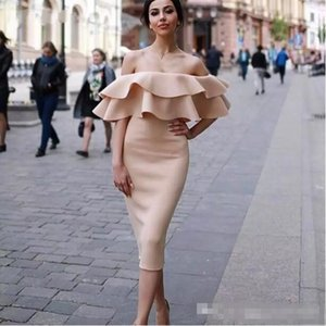 Elegant Off Shoulder Short Cocktail Dresses With Ruffles Tea Length Sheath Party Gowns Prom Dress Abendkleider Evening Dress on Sale