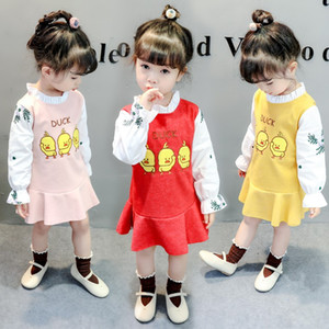 Wholesale Summer Kids Dresses For Girls long Sleeve Cartoon Duck Baby Girls Dress Newborn Baby Clothing Spring Princess Dress
