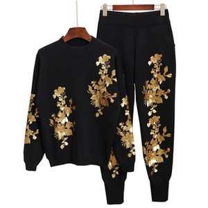 Wholesale 2019 Spring New Fashion Flower Embroidered Knit Black Set Female s Casual All match Two Pieces Set Vestido E520