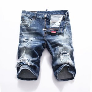 Wholesale new Men Denim Tearing shorts Jeans Night club blue Cotton fashion Tight summer Men s pants A8066