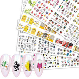 ongles design été achat en gros de-news_sitemap_home12 Designs Coloful Résumé image Nail Sticker de fruits d été crème glacée Ligne animaux Fille eau autocollants Transfert Curseur Décorations