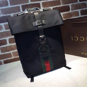 Wholesale 2019 Top Quality Celebrity design Letter embossed Green Belt Black canvas leather Backpack Man Woman 337075 Canvas Travel bag