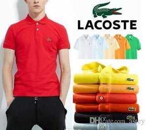 Wholesale 2019 New Men Mandarin Collar Short Sleeve Cotton Casual Polo Shirt Men Fashion Summer Breathable Polos Mens Designer Polo Shirts