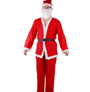 Wholesale Adult Santa Claus Clothes Set Plush Christmas Costume Men Christmas Hat Bear Belt Sets Xmas Cosplay Clothes Decorations GGA2530