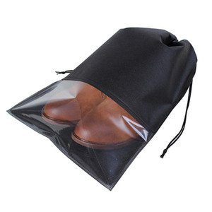 Wholesale 1 pc Non woven semi transparent shoe storage bag travel DrawString harness pocket high heel leather shoes bag dust proof package