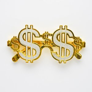 Wholesale Fashion Golden Shiny Dollar Signs Costume Eye Glasses Gold Color Money Sunglasses Fancy Dress Party Photobooth Eyewear