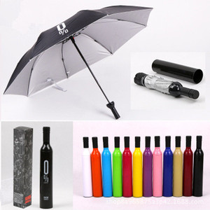 Wholesale Fashion Wine Bottle Umbrella Portable Folding Sun Rain Anti UV Gift Umbrella Creative Red Wine Bottle Shaped Case Design Colors EEA280