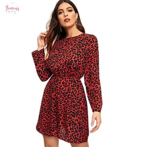 Wholesale Print Mini Keyhole Back Casual Dress Women Clothing Spring Korean Long Sleeve Elegant Dress Office Leopard Dress