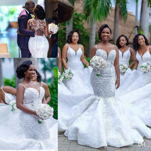 Wholesale 2019 Luxury African Lace Mermaid Wedding Dresses Spaghetti Straps Applique Beaded Sweep Train Wedding Dress Bridal Gowns Plus Size BC2025