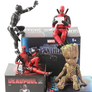 Wholesale 6 Styles Marvel Deadpool Black Panther Groot Action Figure PVC Collection Model Anime Mini Doll Decoration Toys for Christmas Birthday Gift
