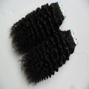 40pcs skin weft tape hair extensions afro kinky curly 100g Human Tape in kinky curly human hair extensions on Sale