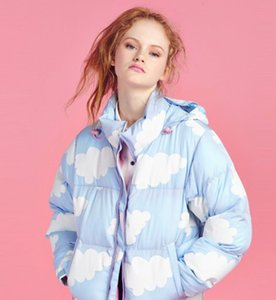 Wholesale winter Harajuku soft sweet blue sky cloud cloudy color block baseball jacket outwesilk thick warm down cotton coat