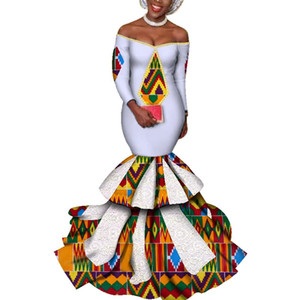 dress hot Vestidos Dashiki women's dress cotton print traditional African clothing fishtail and ground clothing women WY3423