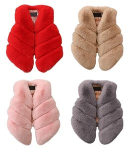 Kids Girls Artificial Fur Vest Coats Winter Warm Waistcoat Children Sleeveless Jacket Outerwear Clothing For 1-7 Years Child J190508 on Sale