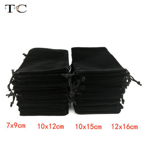 12Pcs lot Wholesale Black Velvet Bag Pouch Drawstring Velvet Pouches Gift Bag Jewelry Packaging Display Bags Box Gift