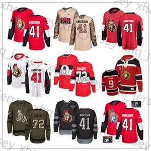 Custom Ottawa Senators 41 Craig Andersen 44 Jean-Gabriel Pageau 9 Bobby Ryan 72 Thomas Chabot USA Flag hockey jerseys on Sale