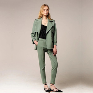 Wholesale Women Business Suits Formal Dark Green Office Uniform Styles Ladies Elegant Pant Suits Female Trouser Suit