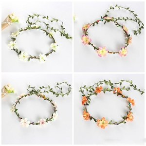 Wholesale Artificial Flowers Cloth Hair Ornament Green Leaf Mulitcolor Bride Flower Crown Women Wrist Wreaths New Arrival