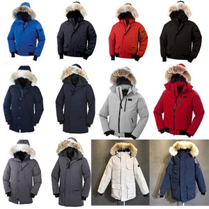 Wholesale Men s Guse Chateau Black Navy Gray Down Jacket Winter Coat Real Fur Sale Parkas With With All The Tag And Label S XXL