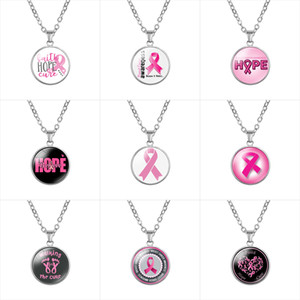 Wholesale awareness ribbon jewelry resale online - Breast Cancer Awareness Pink ribbon necklaces For women Glass Faith Hope Cure Believe Letter Pendant chains Fashion Jewelry in Bulk