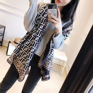 Wholesale women Spring and summer new style Fashion Brand scarf Silk satin Leopard letters Sunscreen Air conditioner shawl
