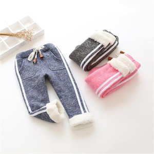 BibiCola kids winter warm sports pants baby boy girl pants newborn baby trousers plus thick velvet long pants Children legging SH190912 on Sale