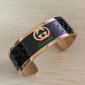 Wholesale New design High quality famous brand large Titanium Steel K rose gold black wide large bangles bracelets for men women free size green red