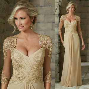 Elegant Chiffon Mother of the Bride Dresses Lace Appliques Beads Formal Evening Gowns 2020 Custom Made Plus Size Wedding Guest Dress