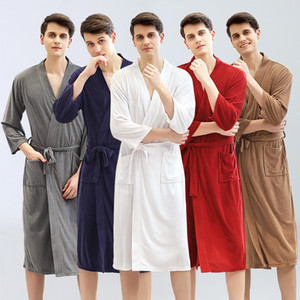 Wholesale Hotel absorbent and quick-drying towel bathrobe spring and summer thin robe male pure white Japanese and Korean yukata pajamas