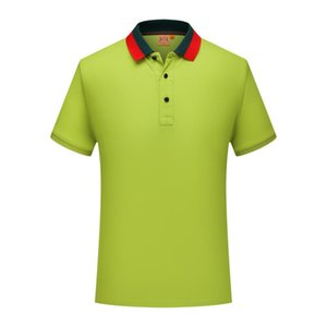 Wholesale SD cf New mercerized cotton striped collar short sleeved polo shirt men and women youth lapel POLO shirt lemon green Half sleeve